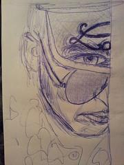 Me in sunglasses and visor (pepemczolz) Tags: las vegas blue art me face sunglasses pen sketch head drawing huntersthompson depp visor biro fearandloathing raulduke flickroid