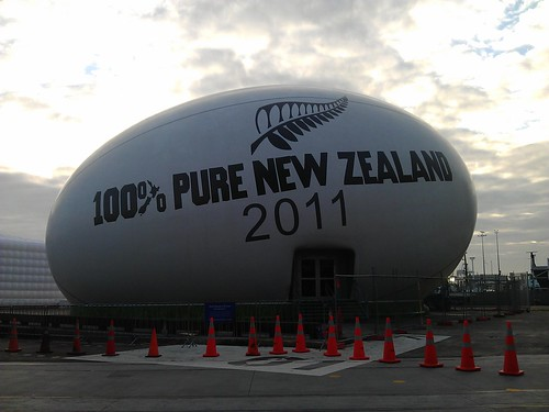 THERE IS A GIANT EGG SHITTING ROAD CONES ON THE WATERFRONT! #rwc2011