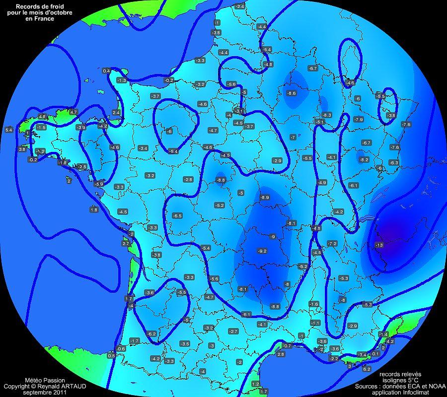 records de froid des températures minimales pour le mois d'octobre en France Reynald ARTAUD météopassion