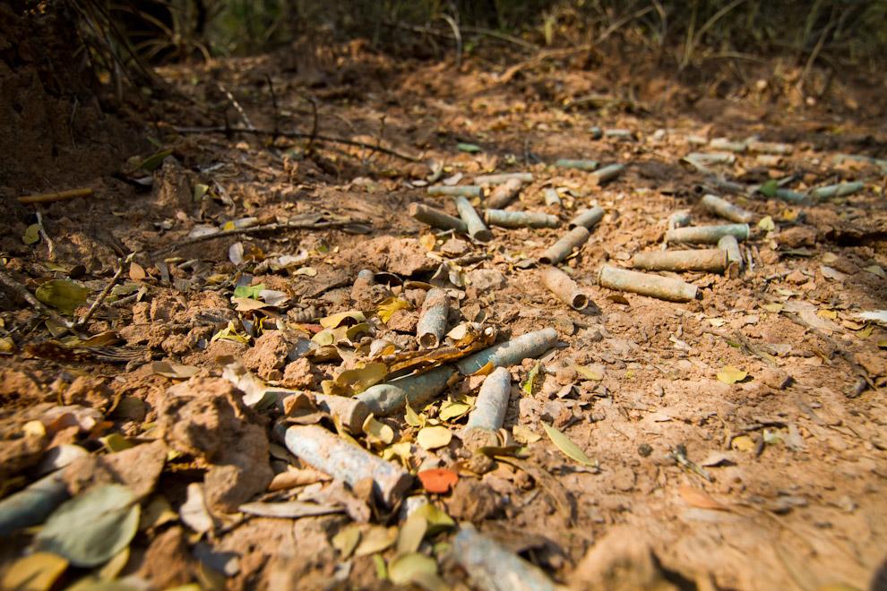 En las cercanías de la placa recordatoria del Fortín Nanawa, entre la espesa vegetación, todavía se encuentran rastros de la Guerra con Bolivia, iniciada 79 años atrás, muchos casquillos de fusil se encuentran desparramados en el suelo donde estaban ubicadas las trincheras en Presidente Hayes, Chaco Paraguayo. (Tetsu Espósito)