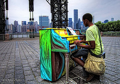 Pop Up Piano (D. Photos) Tags: nyc colors skyline buildings bag piano youngman longislandcity gantryplazastatepark debbiephotos ringexcellence blinkagain canonpowershota3300is popuppiano gantrystateparkpopuppiano