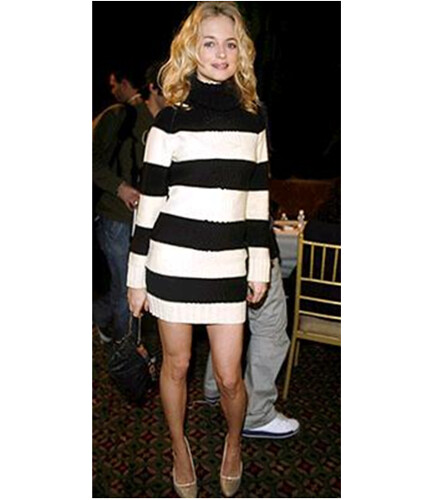Heather Graham wearing turtleneck sweater dress