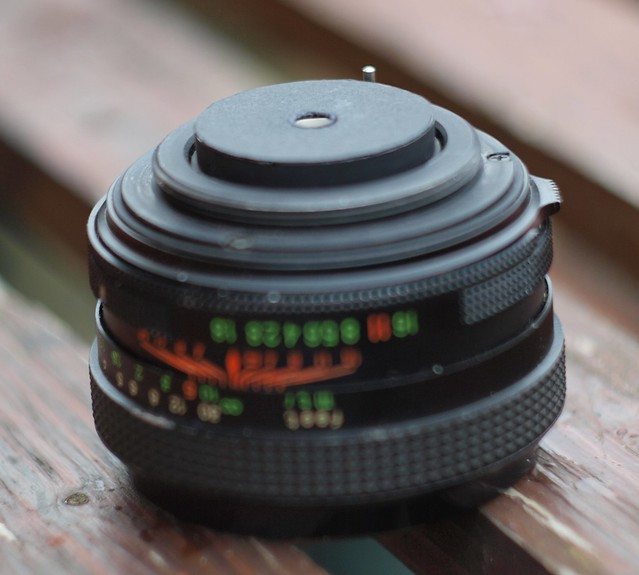50mm M42 standard lens with new aperture at rear
