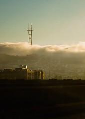 Sutro Tower's gonna get ya... (solecism) Tags: sanfrancisco california ca sunset fog highway alien landmark sutrotower goldenhour throughthewindshield lightparfait sutromonster