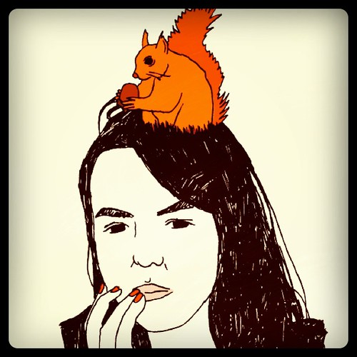 Once someone drew me with a squirrel on my head.
