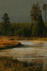 Mist at Sunrise (Panopticonian) Tags: park sunrise river landscape scenic madison national yellowstonenationalpark yellowstone np