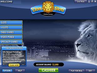Lion Slots Casino Lobby