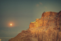 Masada Herod's Palace Moonrise (A   M) Tags: world sea heritage dead israel desert palace moonrise  masada deadsea massada  judea       herods  mazada  mygearandme herodspalacemasada 2011   kingherodspalaceatmasada