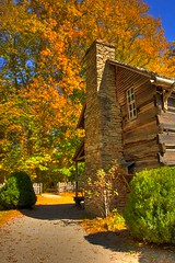 (HisAndHerPhotographs.com) Tags: old chimney fallleaves house brick green fall fence bush vibrant bluesky driveway woodhouse hdr smokeymountains dirtpath fallfoilage