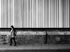 Mono Stripes (preynolds) Tags: london women stripes streetphotography busstop barcode