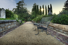 Oakland Cemetery: A Place of Rest (StGrundy) Tags: city atlanta sunset friedhof cemetery graveyard architecture garden bench georgia nikon memorial path seat cementerio peaceful historic southern walkway rest cemitrio hdr cimetire oaklandcemetery fultoncounty 3xp nationalregisterofhistoricplaces photomatix cimiteri tonemapped d80 backyardshots piedmontgardenclub stgrundy