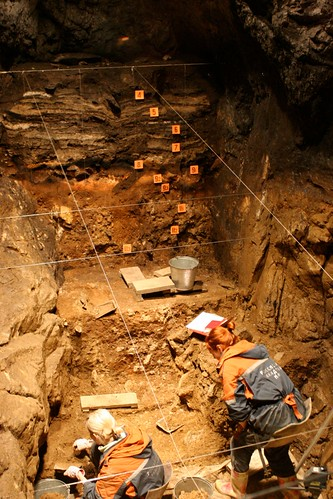 Excavations underway in the East Gallery of Denisova Cave, 2011