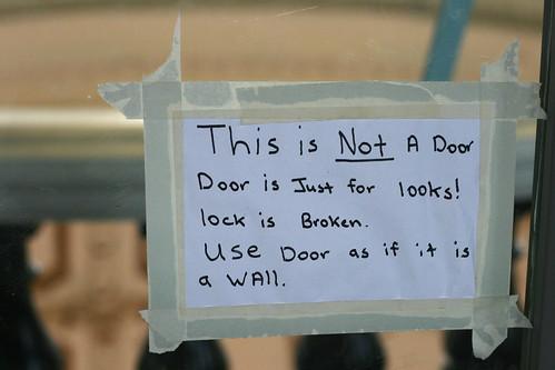 This Is NOT a Door. Door is just for looks! Lock is broken. Use door as it if is a wall.