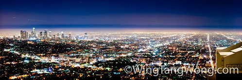 Panorama of Los Angeles at night from Griffith observatory by wingtangwong