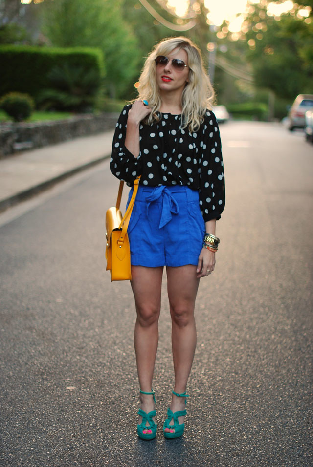 Sterling Style - Black Polka Dotted Blouse - Blue Shorts - Yellow Handbag