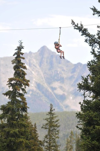 Hannah ziplining at Big Sky