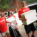 Sororities and fraternities assist students during move-in.