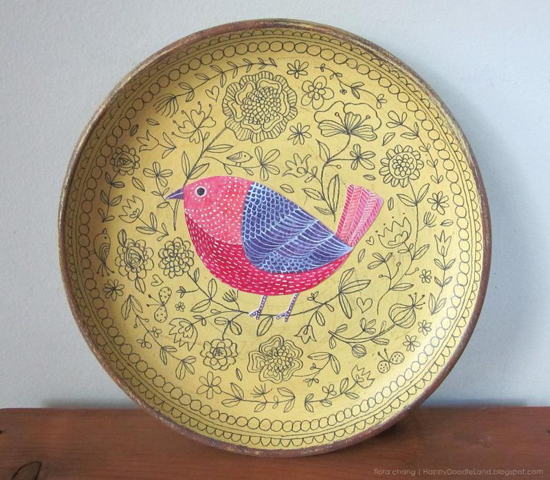 Yellow Bird Doodle Plate