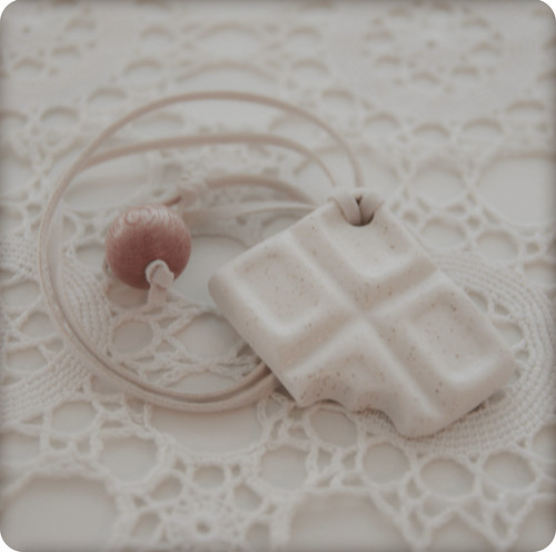 white chocolate ceramic pendant