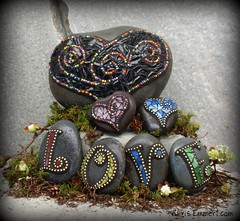 """Licorice"" Mosaic Rock Garden Stone and New Monogram Paperweights (Chris Emmert) Tags: pink blue chris red black green love yellow rock stone garden gold beads purple heart monogram mosaic mixedmedia mosaics stainedglass letter licorice glasstile paperweights ballchain emmert gardenstones flickrmosaicartists chrisemmertcom"