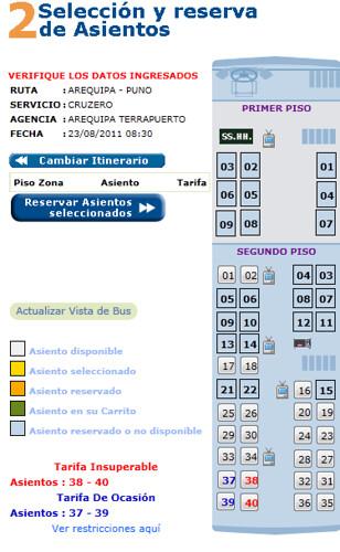 Assentos - Cruz del Sur - Peru
