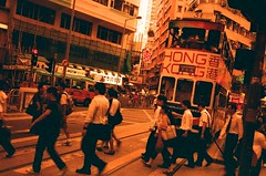 Routine Life on the Island (Lane #51) Tags: life road street city red urban orange film rollei work hongkong lomography crossing transport streetphotography tram xr routine rollei35 rollei35s redscale