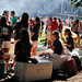 Students enjoy the food and the weather at the Chillin' and Grillin' event on Tucker/Owen Beach.