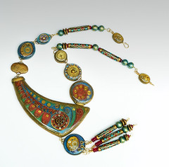 Dare to Dream of Timeless Opulence (papagodesign) Tags: hinge blue red gold necklace beads metallic polymerclay resin mica fauxcloisonne