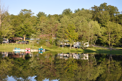 Looking over the pond at our campground (we were in the camper back in the trees with the blue chairs in front of it)