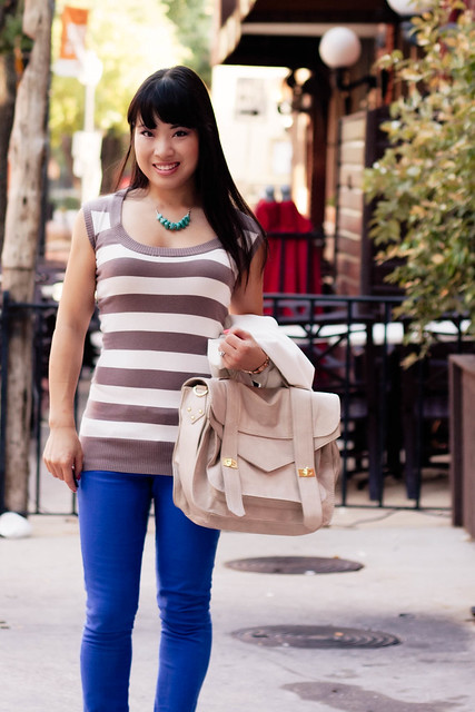 forever 21 taupe white striped sleeveless top, asos petite cobalt blue skinny jeans, aldo whitsey cognac peep toe pumps, vieta veronique buckle satchel handbag heaven, mk5430, eshakti turquoise stones necklace, urban outfitters silence noise white boyfriend blazer