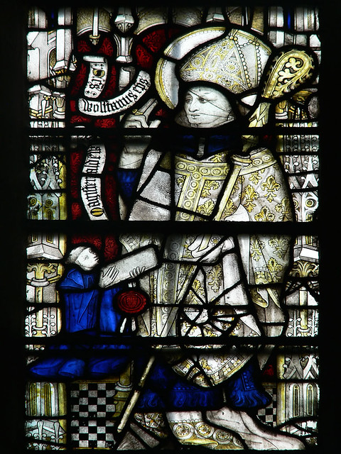 medieval stained glass, Wulstan gives a blessing