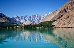 The Passu Cathedrals beyond the Attabad Lake, Pakistan (Ahmad A Karim) Tags: blue pakistan mountain lake green nature water beautiful scene serene naturalbeauty