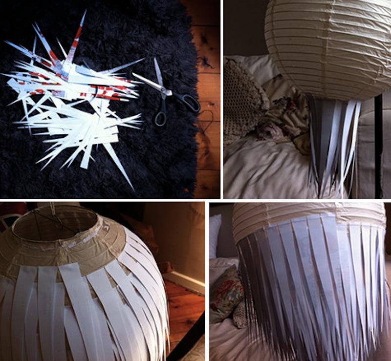 DIY Scrap paper lamp light Design Sponge tutorial 2