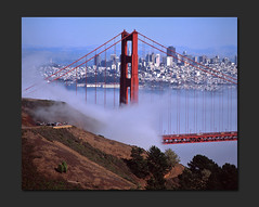 Fog-swept City (RZ68) Tags: sanfrancisco road bridge blue sky tower film fog skyline buildings bay kirby day cove low north under foggy velvia goldengatebridge goldengate provia marinheadlands ggnra seafog e100 conzelman rz68