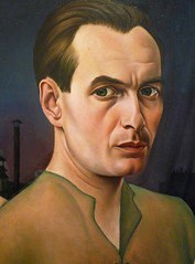 Christian Schad, Self-Portrait with detail of artist (profzucker) Tags: vienna selfportrait london weimar german alienation 1927 schad betweenthewars christianschad germanart newobjectivity neuesachlichkeit