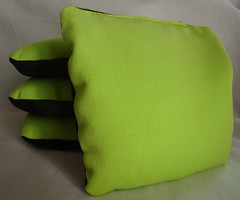 Lime Green & Black Suede Dual Sided Cornhole Bags