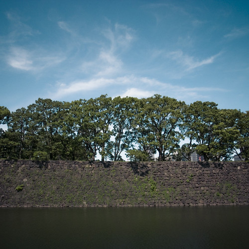Moat, Wall,Tree, Sky