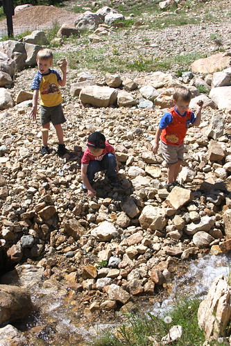 3 boys throwing rocks