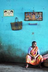 Curiosity (HappyHorizons) Tags: blue portrait india bangalore krmarket happyhorizons