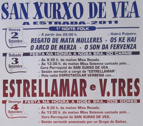 A Estrada 2011 - Festa das Dores en San Xurxo de Vea - cartel 2