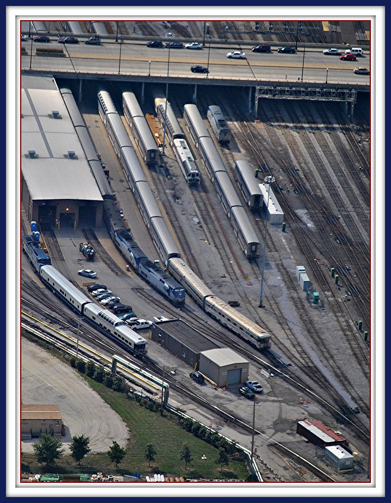Amtrak 14th Street Coach Yard & Maintainence facility View from Willis/Sears Tower Chicago