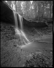 One-A-Day, 8/5/11 Blue Hen Falls (mat4226) Tags: park longexposure blue ohio bw film nature oneaday forest river diy waterfall rocks stream parks shift super falls swing ne 8x10 national cuyahoga oh hp5 rise tilt northeast f8 ilford largeformat n1 zonesystem schneider hens filmphotography eastmankodak f32 sheetfilm angulon 11100 pyrocathd homeprocessed 121mm eastmancommercialb compensatingdeveloper dilutedeveloper believeinfilm
