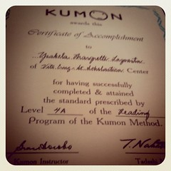 Done with Level 4A in Kumon. By Feb, Bela will be working on Grade 1 materials na