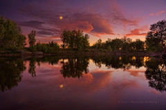 Front Range Romanticism (Fort Photo) Tags: sunset moon lake reflection nature reflections landscape evening nikon colorado glow dusk fortcollins luna crescent co bluehour hdr hdri crescentmoon larimer d700