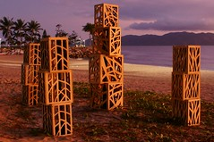 The Art Of Morning Light (gecko47 (Now a Brisbane-ite)) Tags: art beach strand dawn installation queensland boxes townsville rockpool lightboxes clevelandbay strandephemera treepatterns traceyjohnson