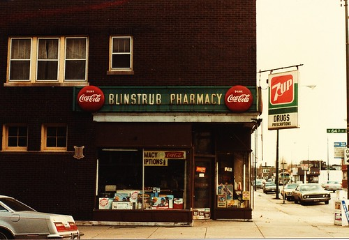 Blinstrub Pharmacy on the southeast corner of South Kedzie Avenue and West 64th Place in Chicago's Marquette Park neighborhood. (Gone.) Chicago Illinois USA. March 1985. by Eddie from Chicago