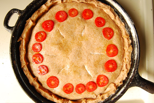 Vegan tomato and corn pie.
