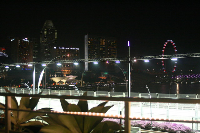 Prelude's lovely view of the evening skyline, marred by the F1 steel bars