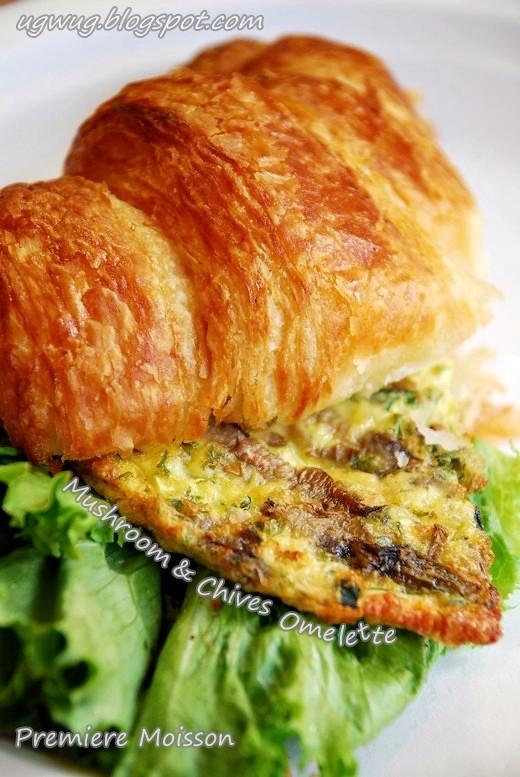 Mushroom & Chives Omelette Croissant