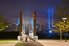 Empty Sky - 9/11 Memorial [EXPLORE] (Moniza*) Tags: world city nyc light usa ny newyork night america port liberty newjersey nikon memorial jerseycity downtown cityscape searchthebest god manhattan nine 911 nj 9 center 11 explore hudsonriver wtc gothamist